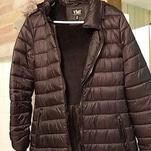 EUC Long puffer coat with faux fur hood